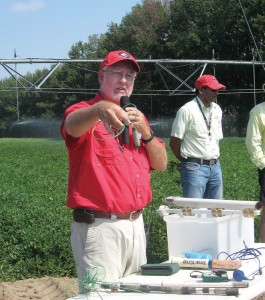 Calvin Perry, superintendent of the University of Georgia C.M. Stripling Irrigation Research Park, displays various soil moisture monitoring devices during a field day event at the park.