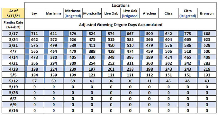 Chart of adjusted growing degree days in peanut